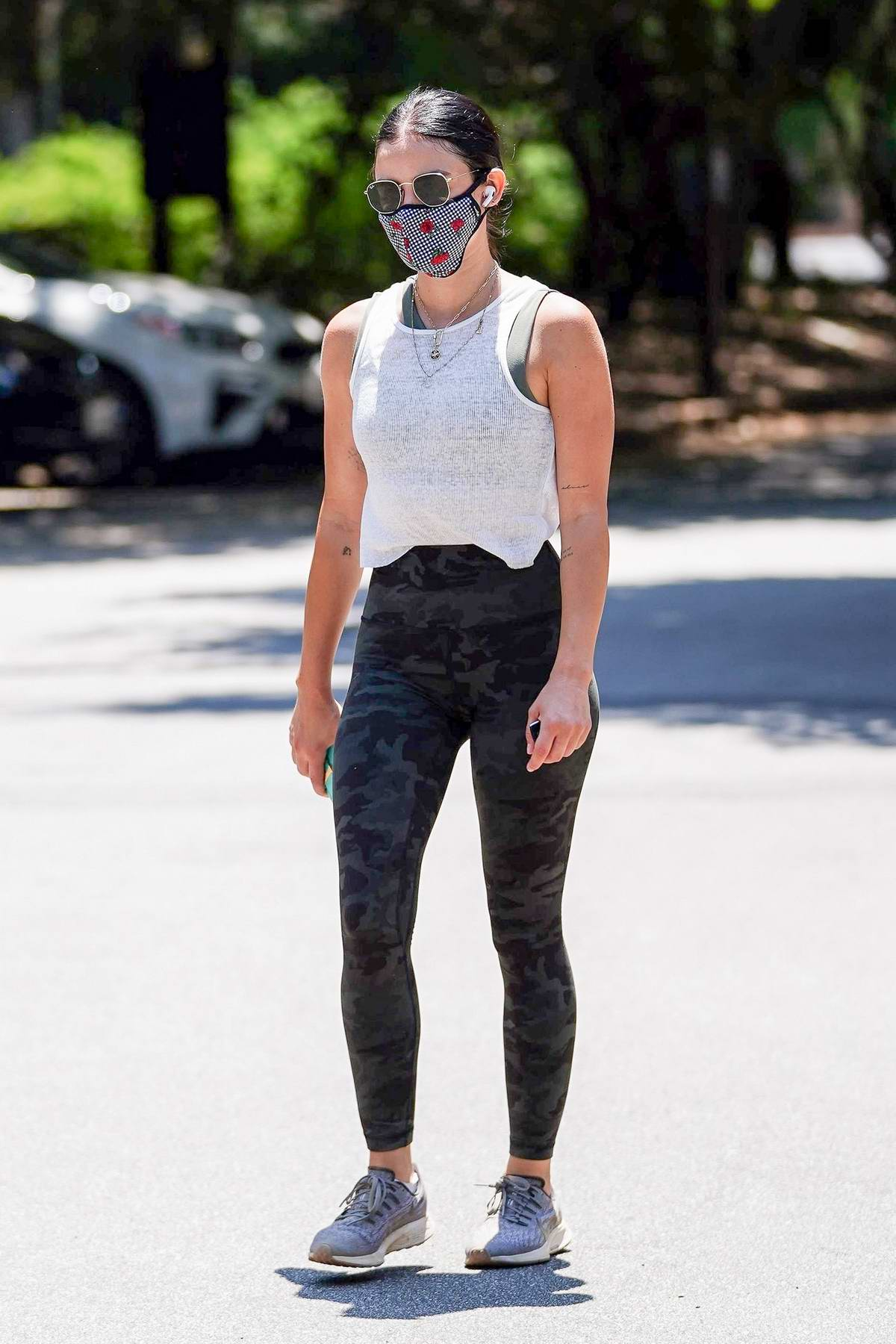 Lucy Hale enjoys a hike at Fryman Canyon before stopping by Sephora for some shopping in Studio City, California