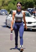 Lucy Hale shows off her toned body in a crop top and leggings as she goes for a hike with a friend in Los Feliz, California