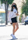 Madison Beer sports a white sweatshirt and black shorts as she hits the gym before getting her hair done at a salon in West Hollywood, California