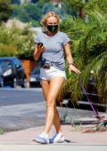 Malin Akerman displays her legs in tiny denim shorts while out for a walk with her dog in Los Feliz, California