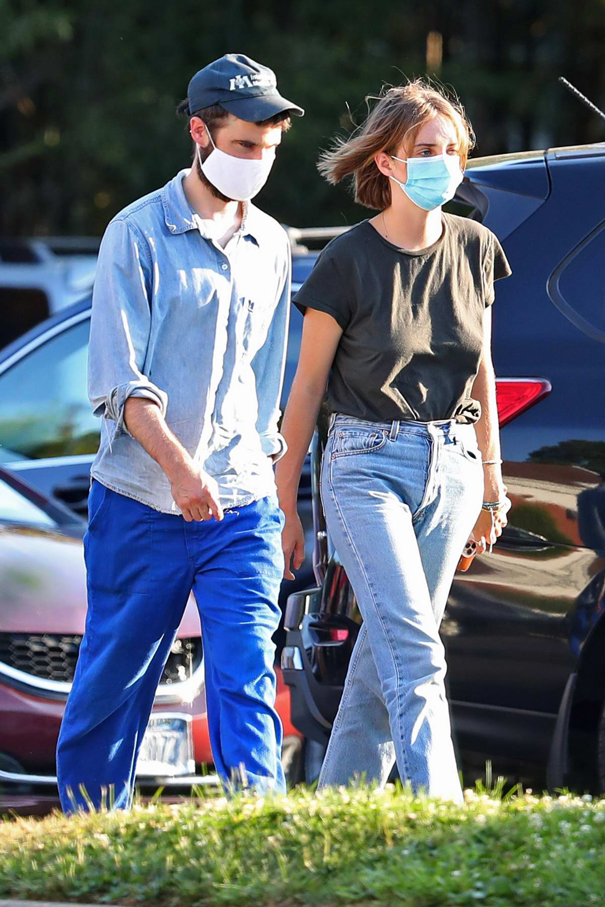 Maya Hawke and Tom Sturridge stock up on essentials at a CVS in The Hamptons, New York