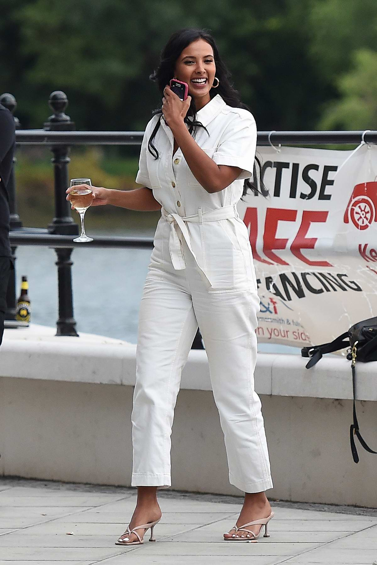Maya Jama enjoys drinks at the Peter Crouch 'Save Our Summer' end of series party at Riverside Studios in London, UK