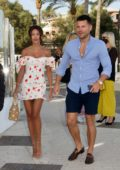 Michelle Keegan and Mark Wright join a family dinner at Olivia's Restaurant in Marbella, Spain