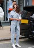 Michelle Keegan sports a striped jumpsuit as she leaves Juniper Restaurant in Hale Village, Cheshire, UK