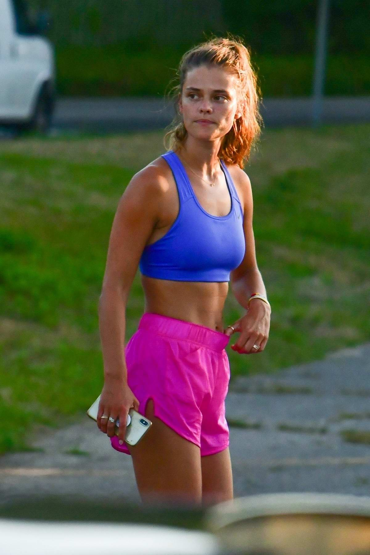 Nina Agdal display her toned midriff as she wraps up a workout session with Jack Brinkley-Cook in The Hamptons, New York