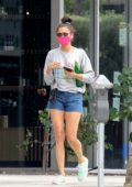 Nina Dobrev wraps up a workout at Remedy Place Fitness Center in West Hollywood, California