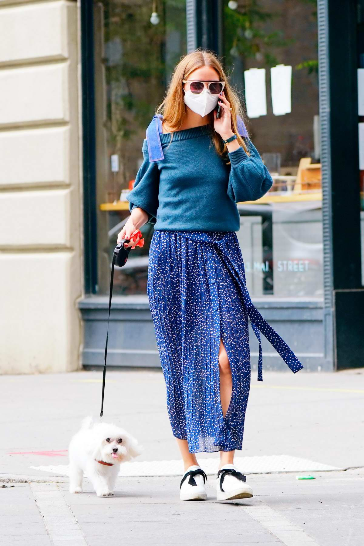 Olivia Palermo looks stylish in a blue semi-sheer skirt as she walks her dog Mr Butler in Brooklyn, New York City