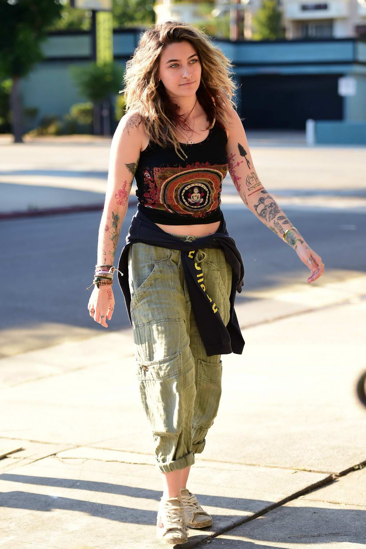 Paris Jackson sports her usual boho-chic style as she while visiting a studio in Los Angeles