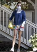 Rebecca Romijn steps out in colorful shorts while stopping by the Farmers Market in Calabasas, California