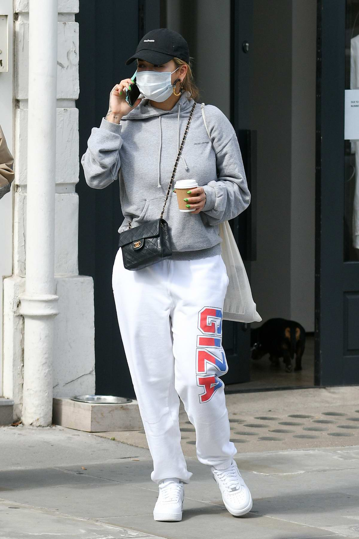 Rita Ora looks comfy in a hoodie and sweatpants while out for shopping in Notting Hill, London, UK