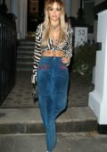 Rita Ora looks stylish in zebra print top as she heads for a friend's birthday party in London, UK