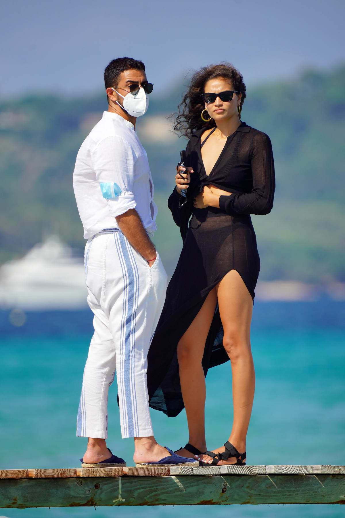 Shanina Shaik looks stunning in black while out for lunch with boyfriend Seyed Payam Mirtorabi at Club 55 in Saint-Tropez, France