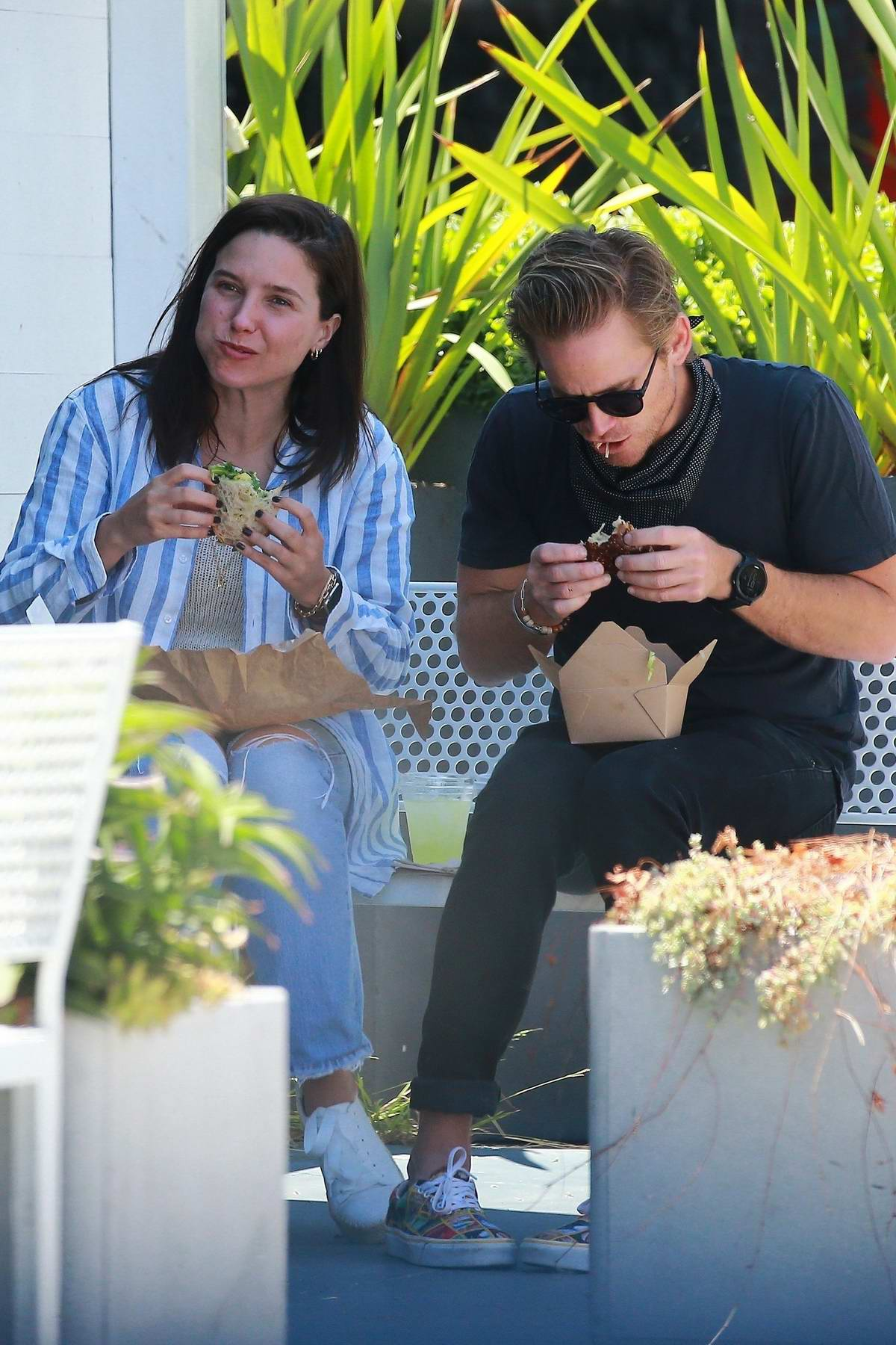 Sophia Bush spotted enjoying a sandwich with new boyfriend Grant Hughes during a casual date out in Venice, California