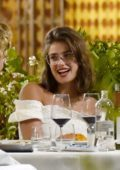 Taylor Hill is all smiles during a dinner date with boyfriend Daniel Fryer in Portofino, Italy