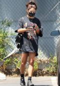 Vanessa Hudgens hits the gym in an oversized vintage tee and shorts in Hollywood, California