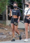 Vanessa Hudgens shows off her toned abs as she leaves the gym after a workout session in West Hollywood, California
