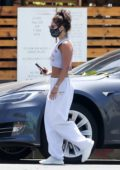 Vanessa Hudgens steps out in all-white casuals while making a coffee run in Los Angeles