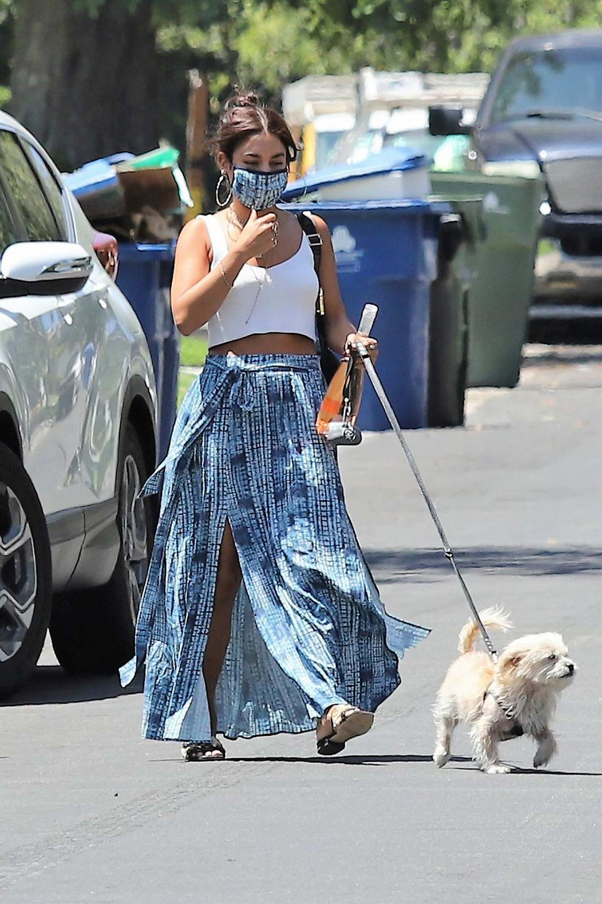 Vanessa Hudgens wears a trendy skirt and a crop top as she steps out with her dog in Los Angeles