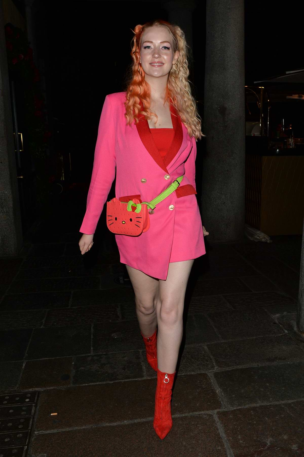 Victoria Clay is pretty in pink while out for dinner in Mayfair, London, UK
