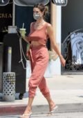 Alessandra Ambrosio rocks matching rust colored ensemble while out for a cold Boba from Urth Cafe in West Hollywood, California
