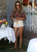 Alessandra Ambrosio seen leaving after an al fresco lunch with a friend at the Ivy in West Hollywood, California
