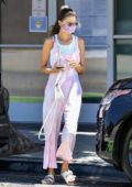 Alessandra Ambrosio seen wearing pink tie-dye overalls while visiting a nail salon in Los Angeles