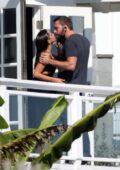 Ana de Armas pulls down Ben Affleck's mask for a kiss during a beach photoshoot in Malibu, California