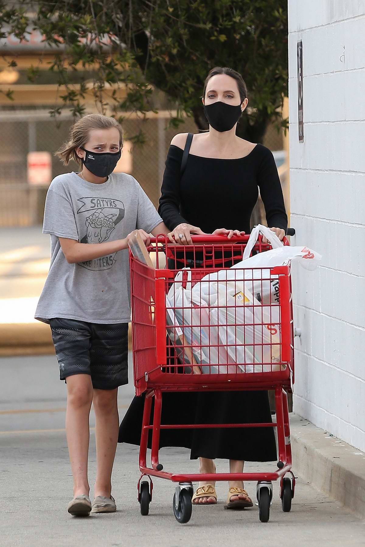 Angelina Jolie shops for school supplies with her daughter at Staples in Los Angeles
