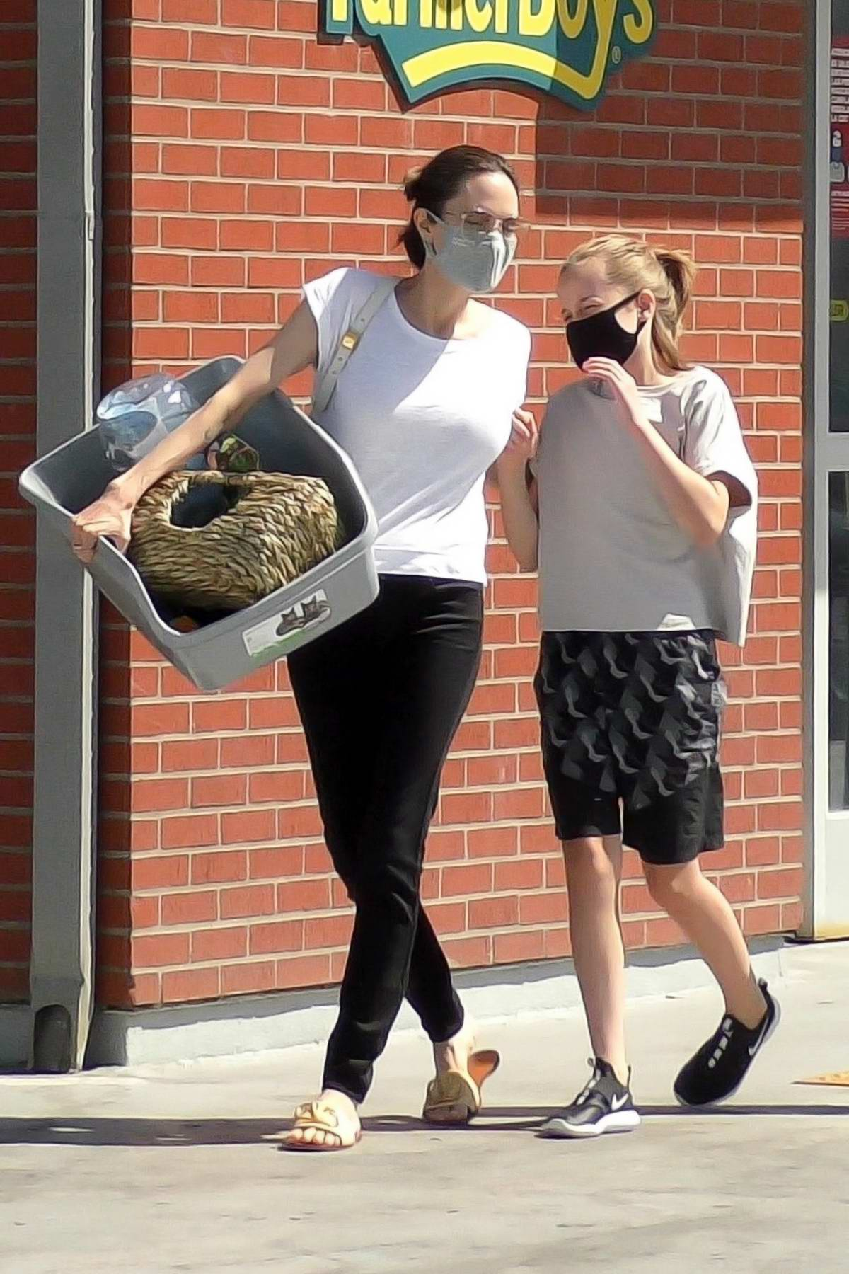Angelina Jolie stops to pick up some items at a pet store with her daughter Vivienne in Los Feliz, California