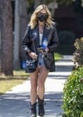 Ashley Benson rocks leather blazer and denim shorts while running errands in Beverly Hills, California