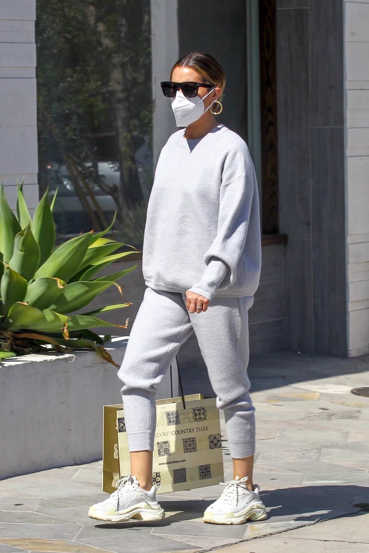 Ashley Tisdale dons grey sweatsuit while out shopping in Beverly Hills, California
