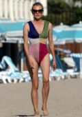 Diane Kruger hits the beach in a multi-color swimsuit in Los Angeles