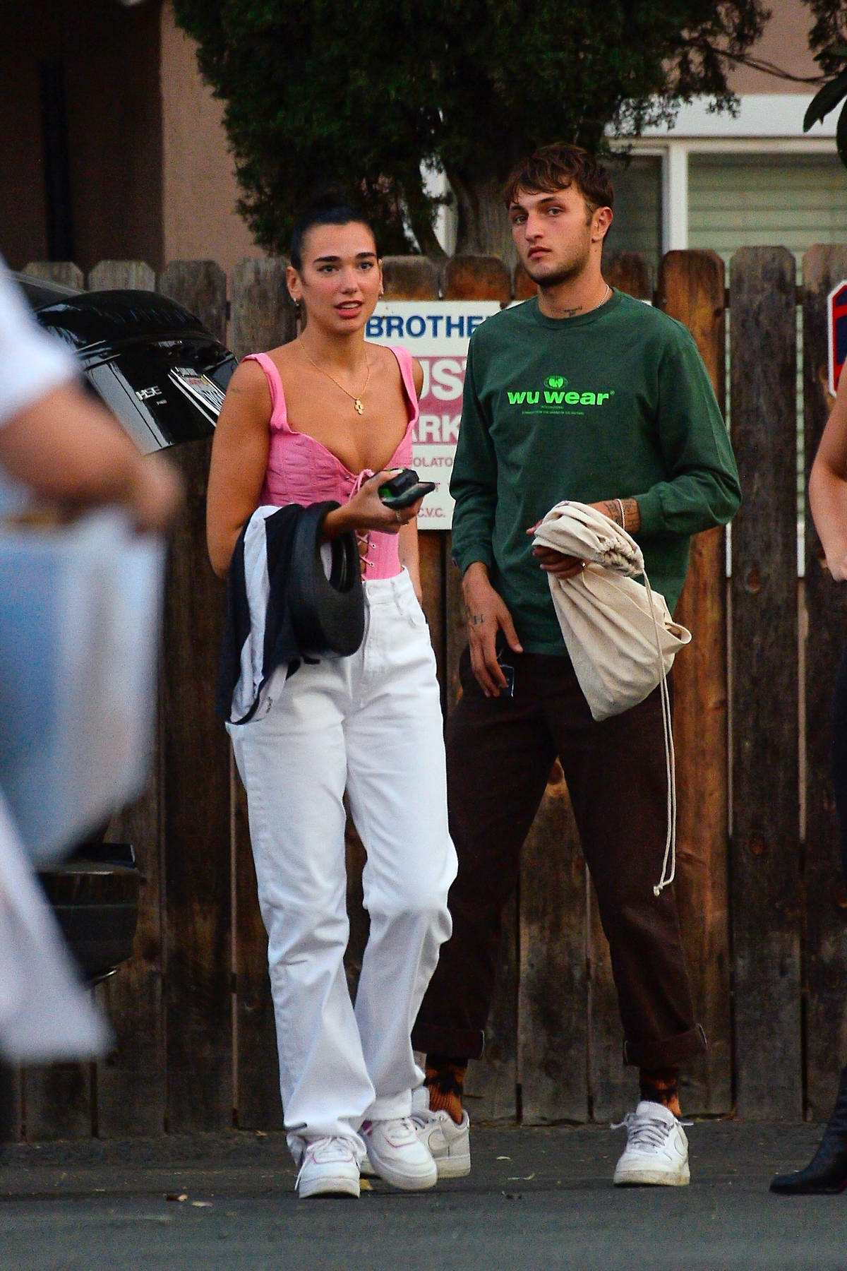 Dua Lipa steps out for a dinner date with boyfriend Anwar Hadid at the Brothers Sushi in Los Angeles