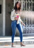 Eiza Gonzalez looks fab in a white top and skinny jeans while making a coffee run in Studio City, California