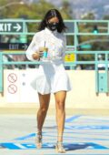 Eiza Gonzalez looks stylish in all-white while making a coffee run at Alfred's in Beverly Hills, California