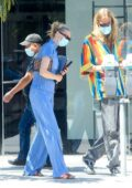 Elsa Hosk looks great in blue while out with Tom Daly in West Hollywood, California