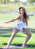 Farrah Abraham enjoys a morning yoga session wearing white lacy lingerie in Santa Monica, California