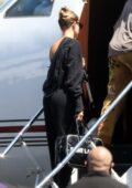 Hailey Bieber and Justin Bieber seen boarding a private jet in Los Angeles