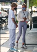 Hailey Bieber and Justin Bieber seen waiting in line at a local breakfast joint in West Hollywood, California