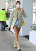 Hailey Bieber puts on a very leggy display while out shopping in Beverly Hills, California