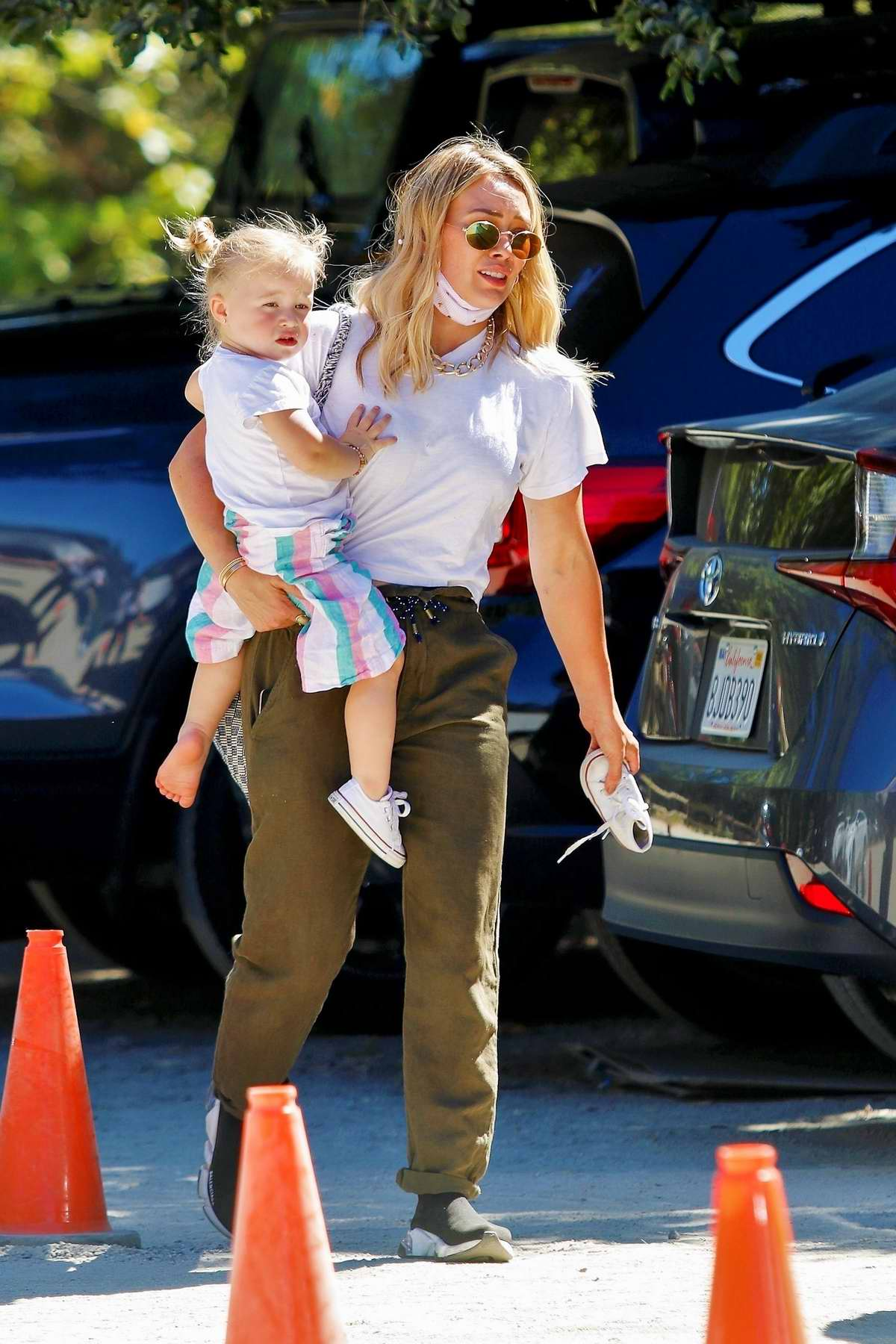 Hilary Duff seen carrying her daughter while out in in Los Angeles