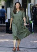 Jennifer Garner spotted in a green dress as she gets back to work filming in Pacific Palisades, California