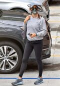 Jennifer Garner wears a grey sweatshirt and black leggings while out with her daughter Seraphina in Pacific Palisades, California
