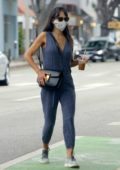 Jordana Brewster takes her son to camp and stops by Caffe Luxxe in Los Angeles