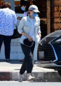 Kate Mara makes a stop to pick up a take out order from a local restaurant in Los Feliz, California