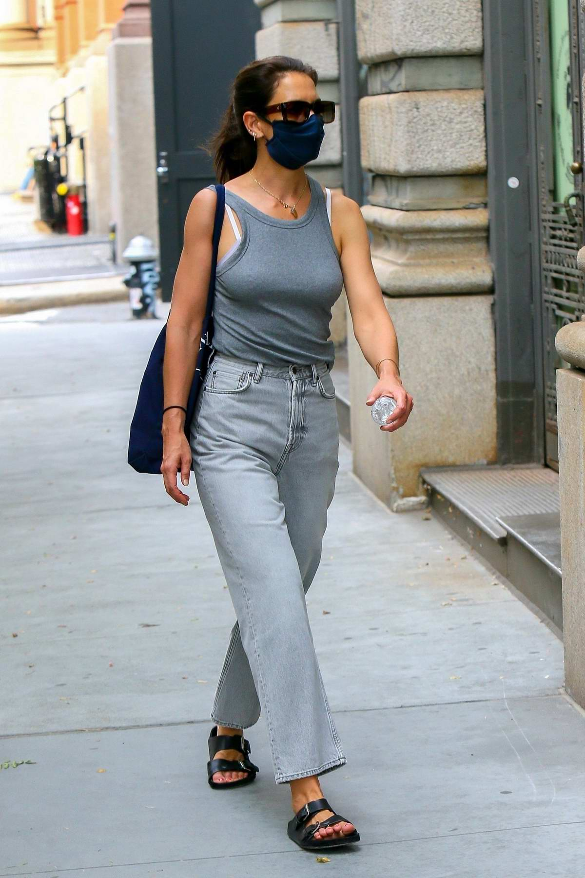 Katie Holmes wears grey tank top and jeans while out in New York City