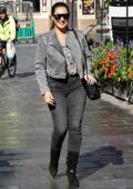 Kelly Brook dons double denim while heading to Global Radio in London, UK