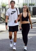 Kimberley Garner enjoys some tennis and grabs drinks with Ollie Chambers on The King's Road in London, UK