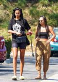 Lais Ribeiro shows off her new braids while out with a friend in Malibu, California