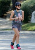 Lucy Hale beats the heat with an iced drink after a solo hiking session in Los Angeles